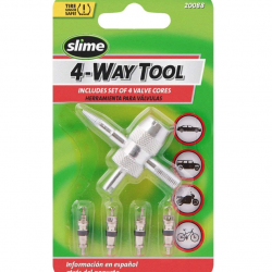 4-Way Valve Tool with 4 Valve Cores Front