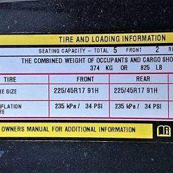 Tire air pressure chart label