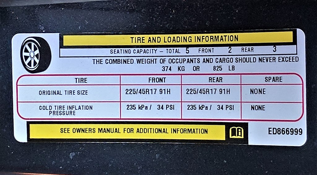 Tire air pressure chart label